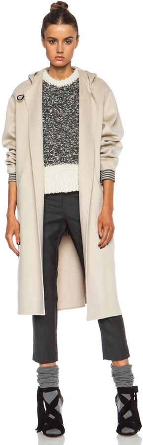 Beige Coat: Isabel Marant Hacene Double Face Wool Blend Coat In Beige