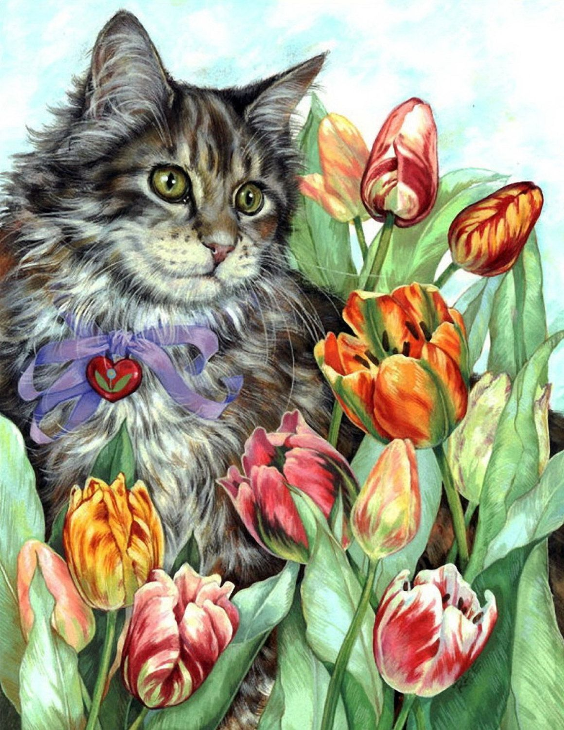 Sat With A Bouquet Of Tulips Cross Stitch Pattrn Needlecraft By Icrossstitchpattern On Etsy Cat Art Illustration Cat Painting Cat Artwork