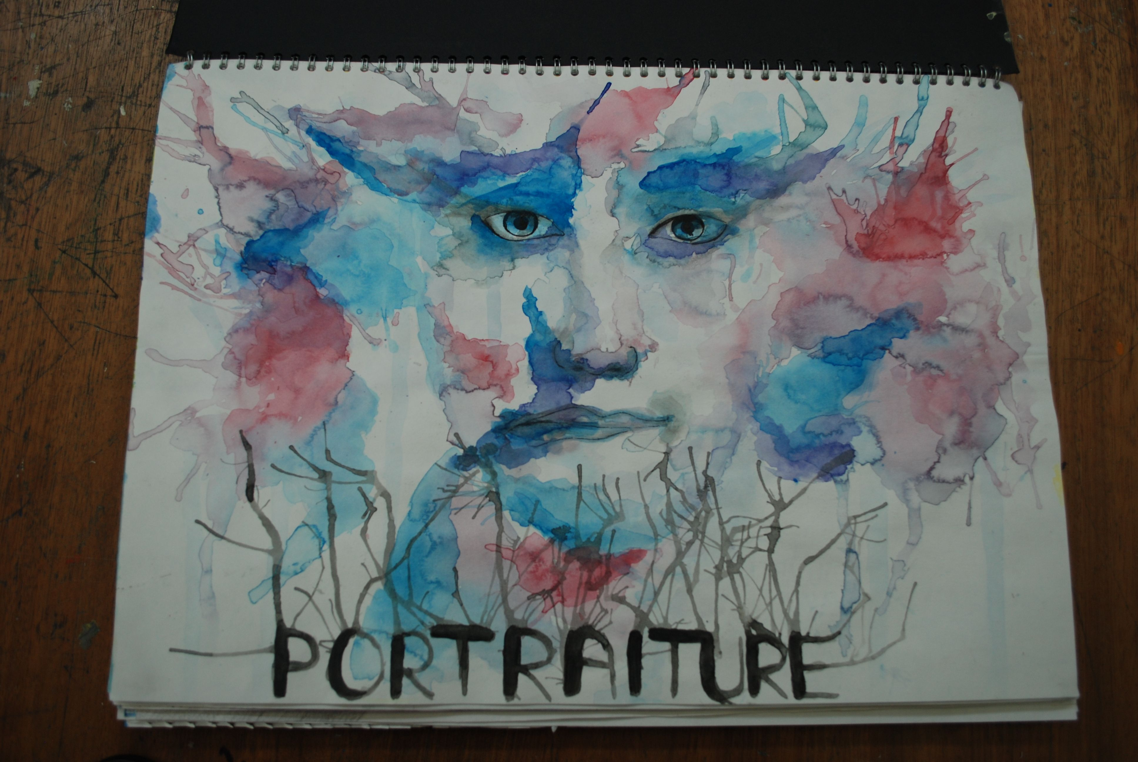 portraiture project title page using watercolour by yr student portraiture project title page using watercolour by yr9 student
