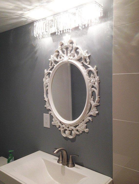 Large Bathroom Wall Mirror Shabby Chic Oval Mirror Nursery Mirror