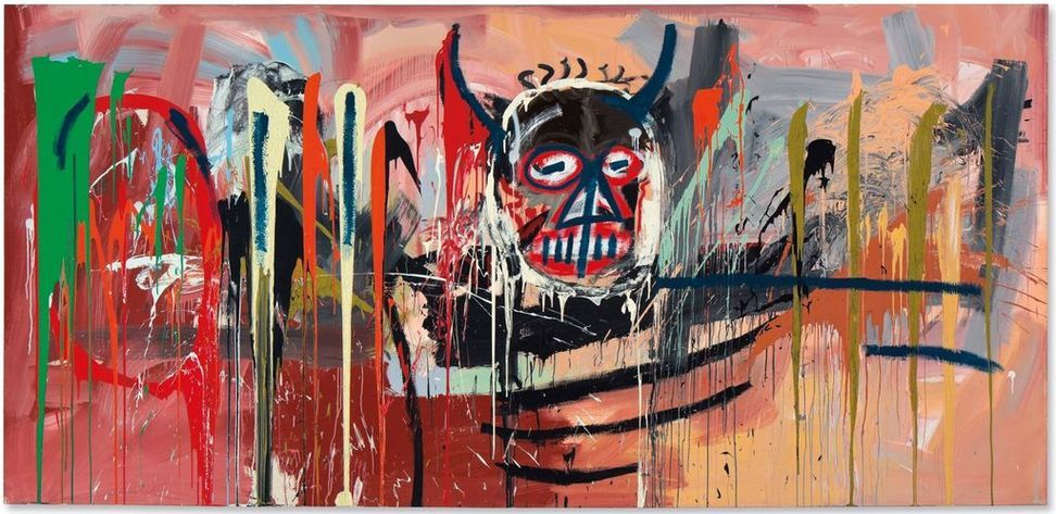 Jean-Michel Basquiat's Untitled painting brought $57.3 million, an auction record for the artist.