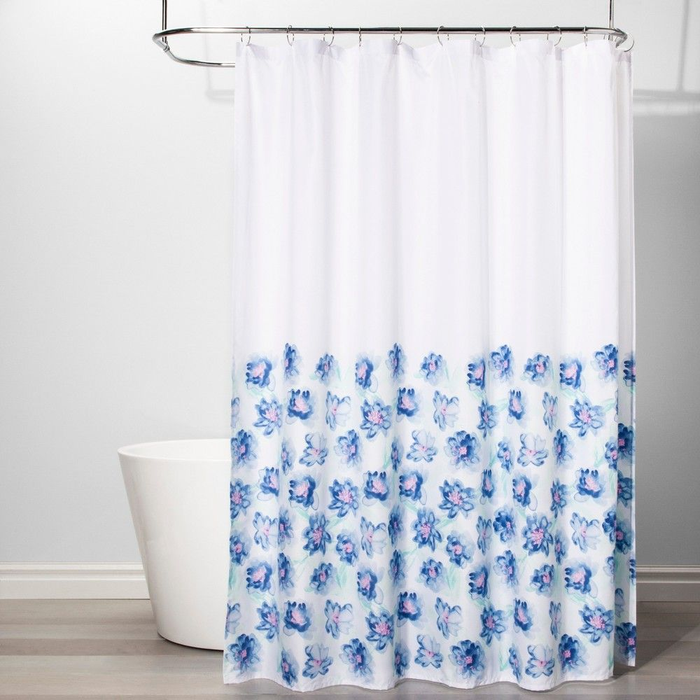 Creeping Floral Shower Curtain White Blue Room Essentials Blue