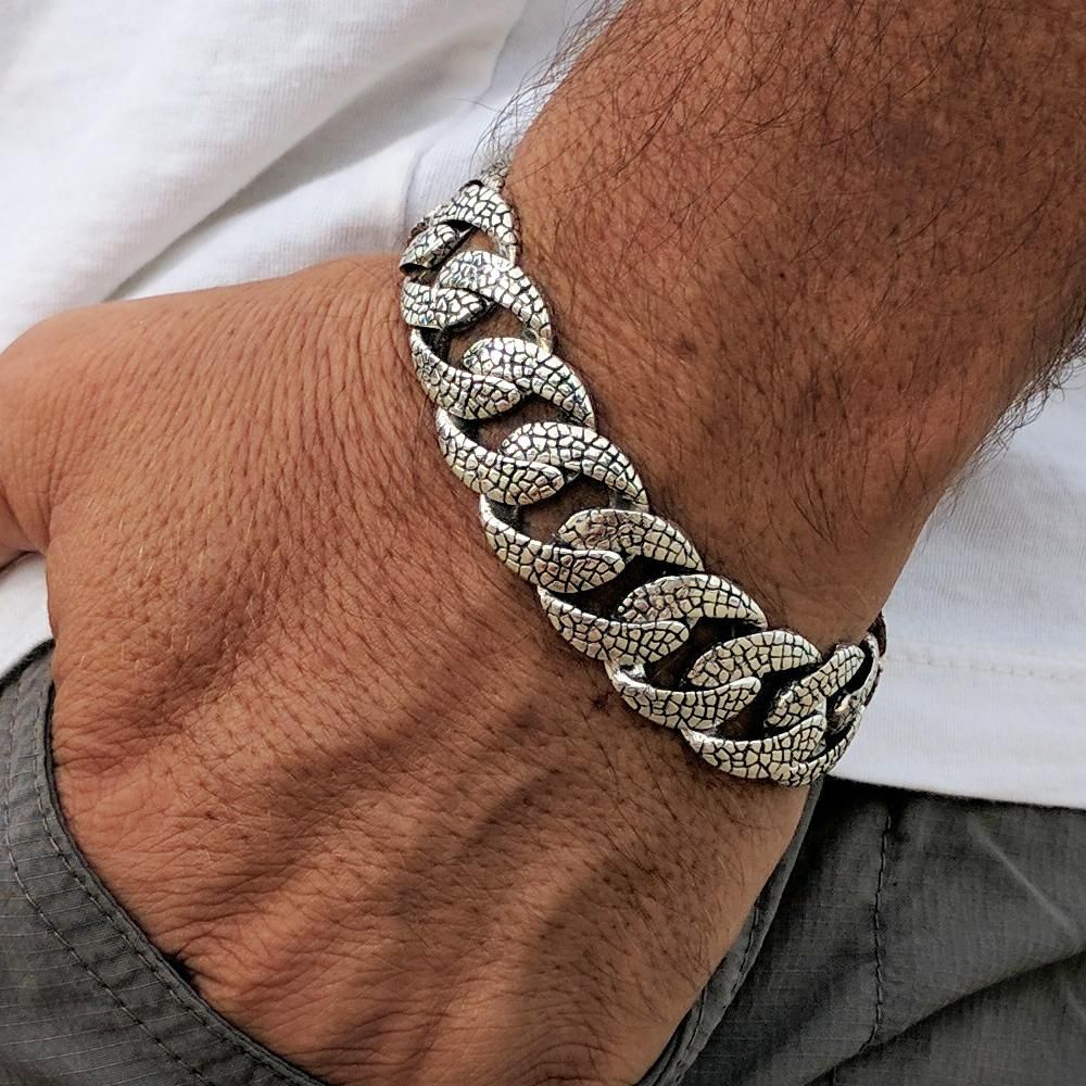 6bcce20cd237 mens for man 925 sterling silver lizard skin chain link bracelet black jewelry  men father gift braclet