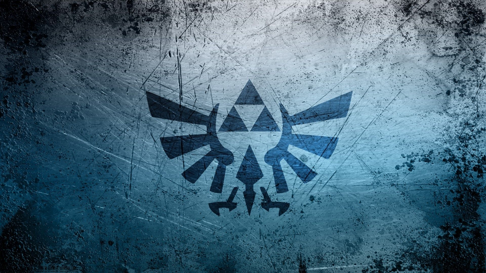 Video Games Blue Grunge Metal Triforce The Legend Of Zelda Logos