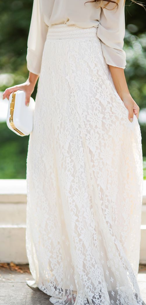 Urban Outfitters white lace maxi skirt~I think this would be ...