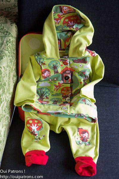 ensemble vert anis, sarouel maison victor, gilet ottobre, jersey, coton, petit chaperon rouge