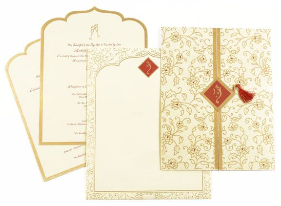 Cream Color Hindu Cards Card With Rhinestones House Warming