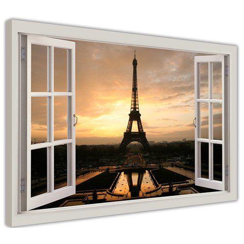Hokku Designs Eiffel Tower at Dawn Window Bay Effect Photographic Print on Wrapped Canvas #eiffeltower