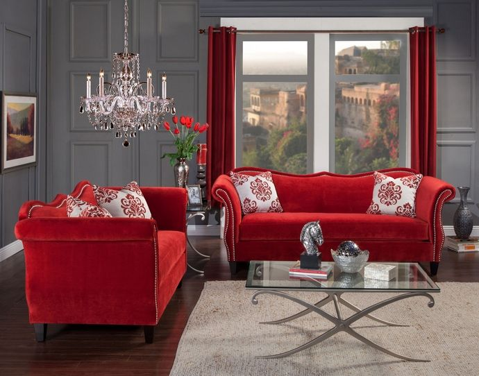 2 Pc Zaffiro Collection Ruby Red Fabric Upholstered Sofa And Love Seat Set With Nail Head