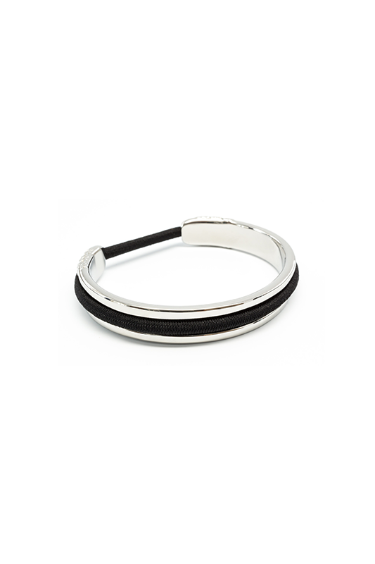 Carry a hair elastic on your wrist in a way that's elegant AND keeps your wrist indent-free. Bittersweet bracelets are made of stainless steel with a shiny metallic finish, and they cleverly hold—and