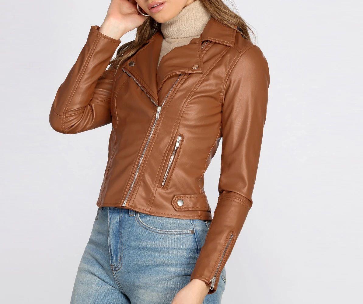 Kick It Up A Notch Faux Leather Moto Jacket in 2020