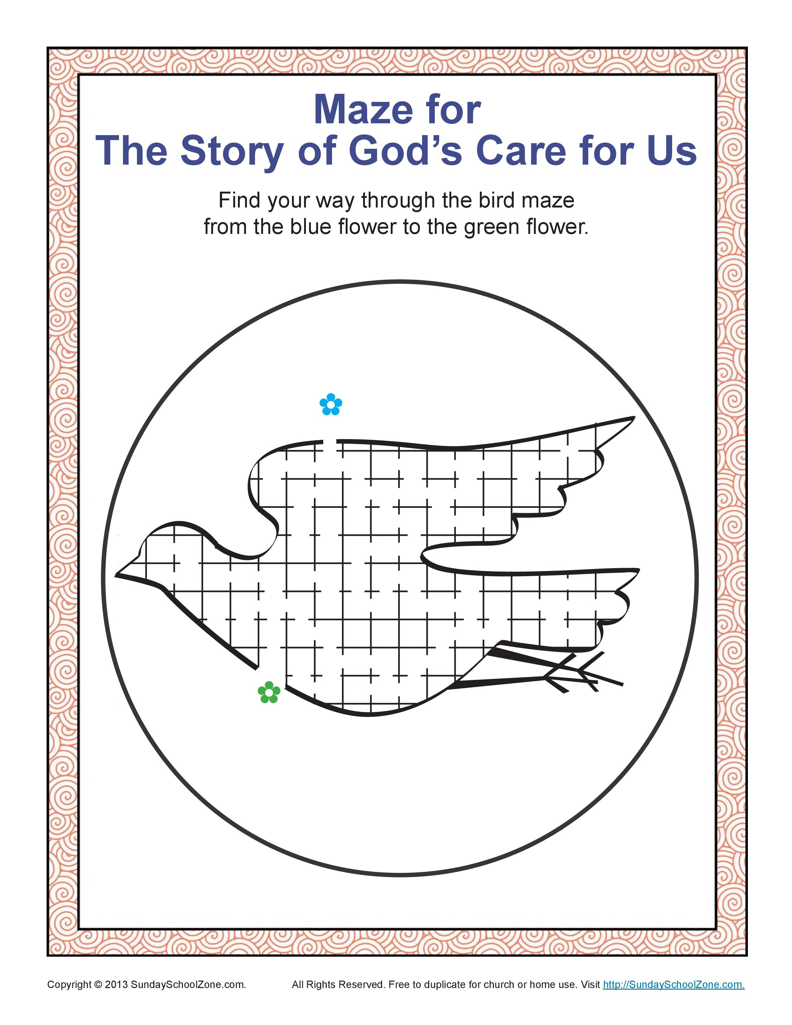 Story Of God S Care For Us Maze