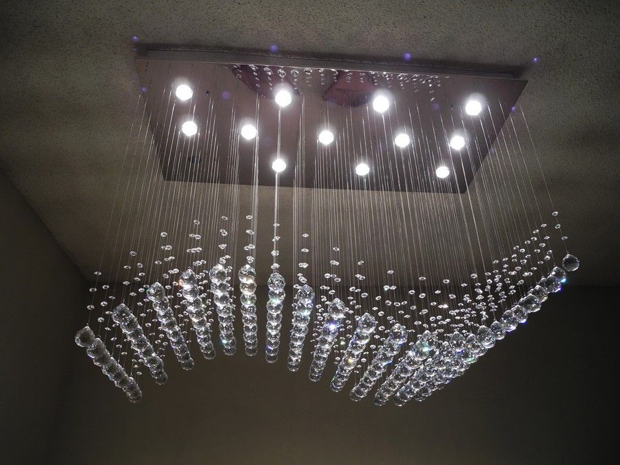 1399 Model Wave This Modern Chandelier Features Natural Crystal