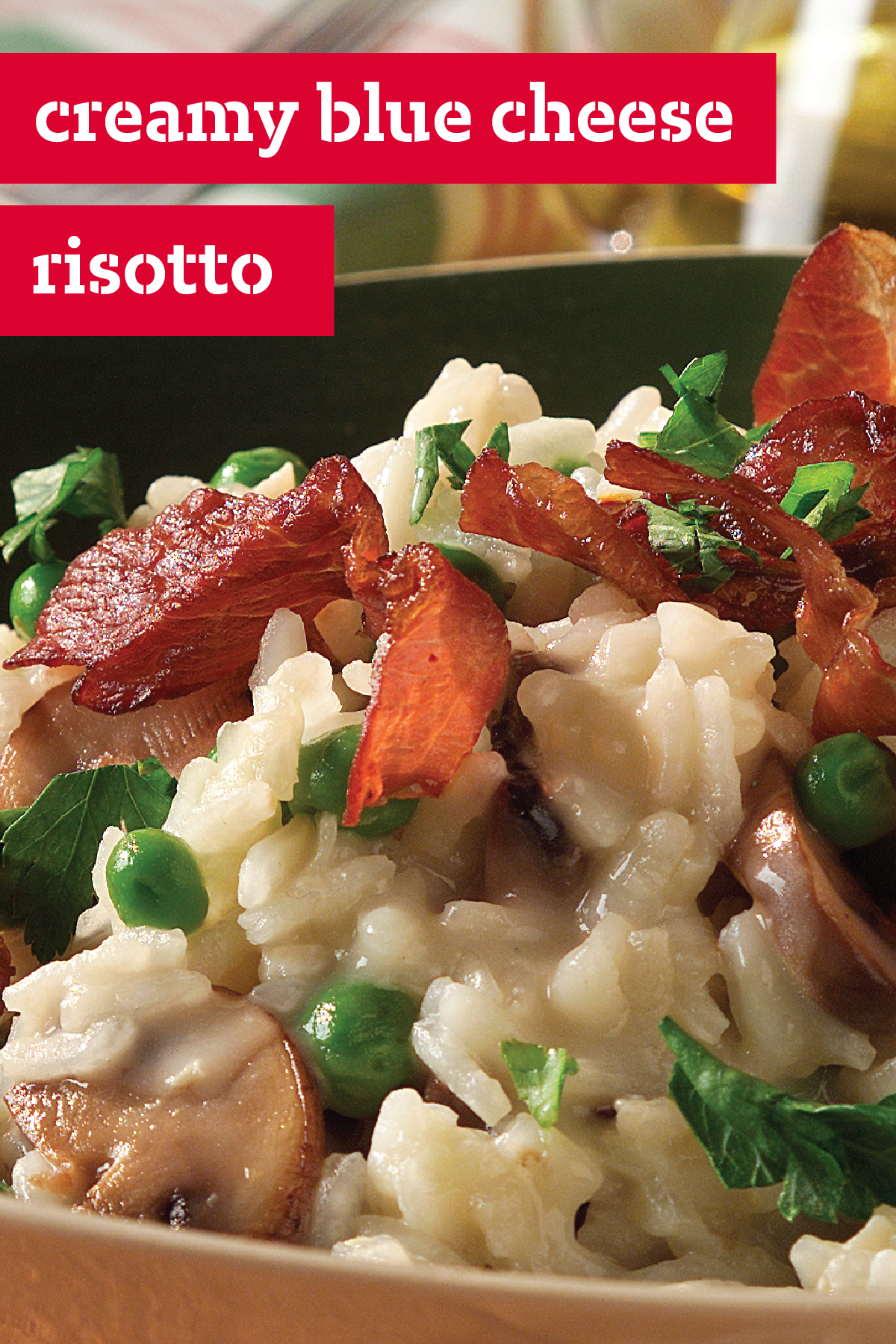 Creamy Blue Cheese Risotto – Filled with prosciutto, peas, mushrooms, and onions, this traditional creamy Italian rice dish is also flavored with garlic, Parmesan, and blue cheese. All in all, this creamy recipe is packed with flavor.