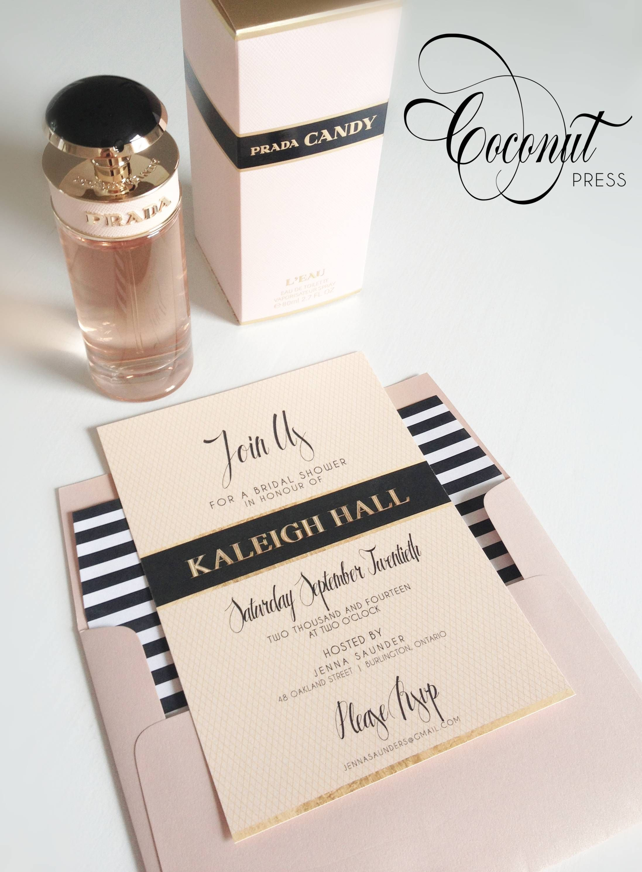 Prada Inspired Bridal Shower Invitations // Black, Gold, and Blush ...