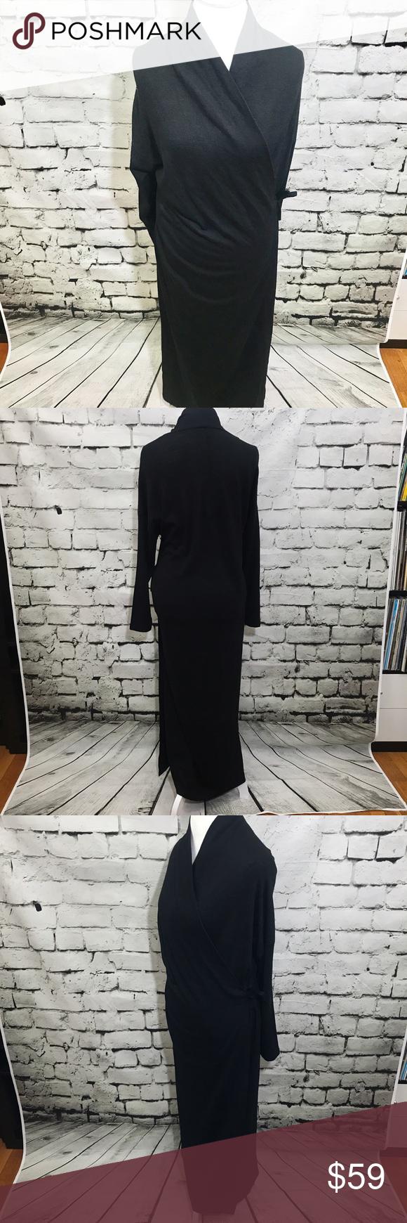 Vintage eileen fisher black maxi wrap dress cleanses wrap dresses