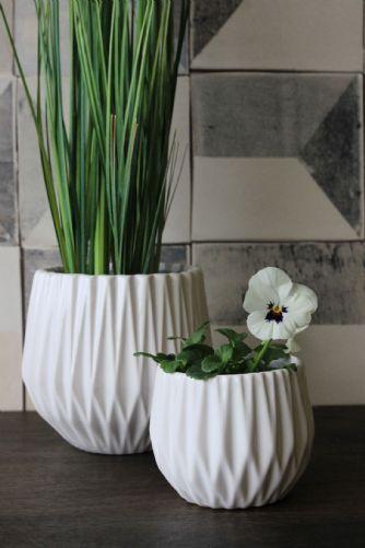White Ceramic Geometric Plant Pots Set Of 2 Rockett St