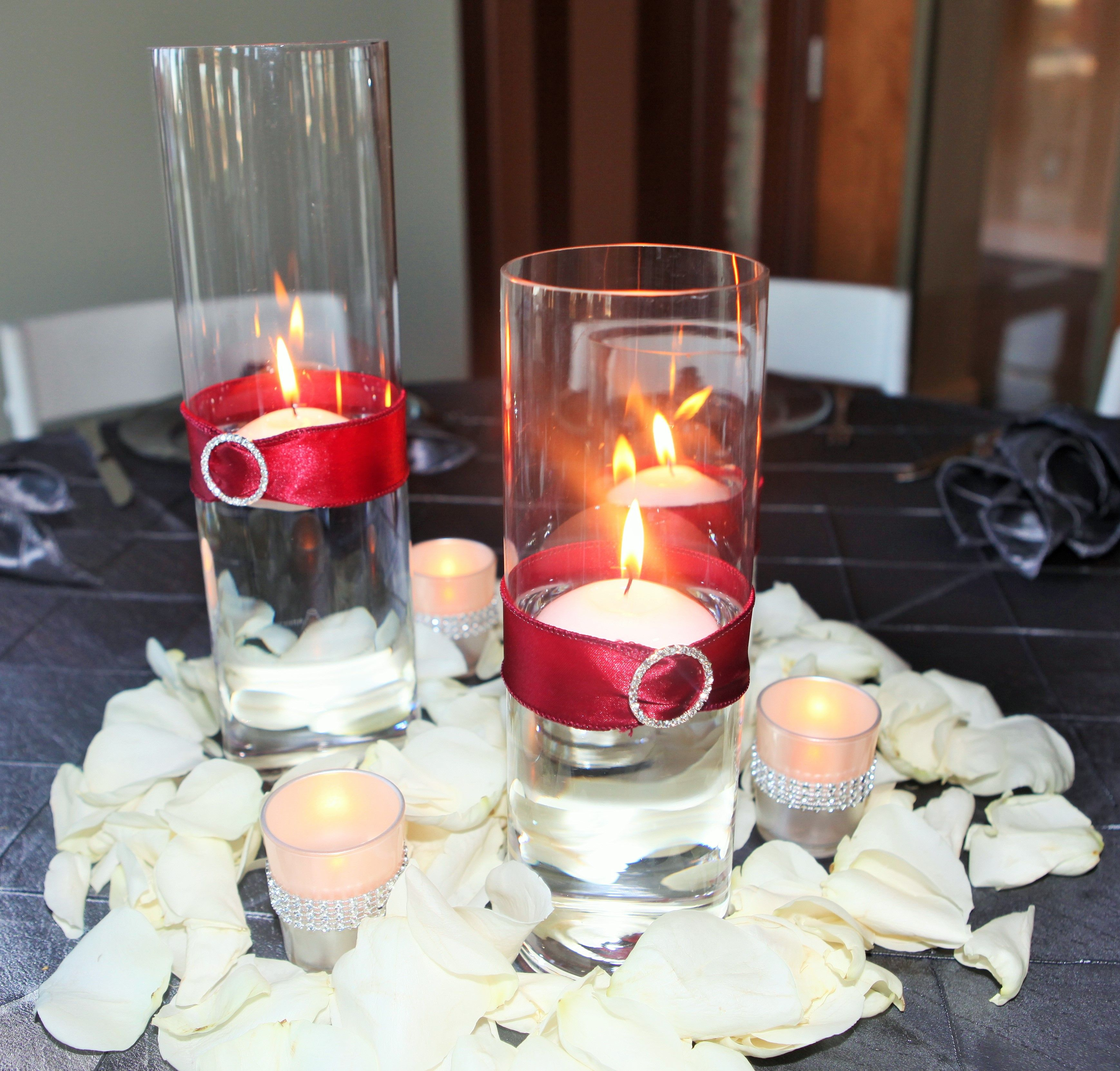 Floating Petals Centerpieces: 3 Glass Cylinder Wedding Centerpieces With Floating