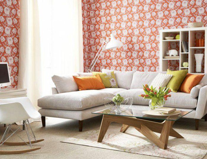 vintage tapete wohnzimmer wandgestaltung ecksofa glastisch luftige - tapete für wohnzimmer