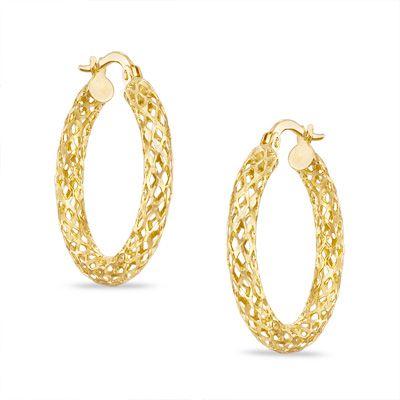Mesh Tube Hoop Earrings in 10K Gold Peoples Jewellers s