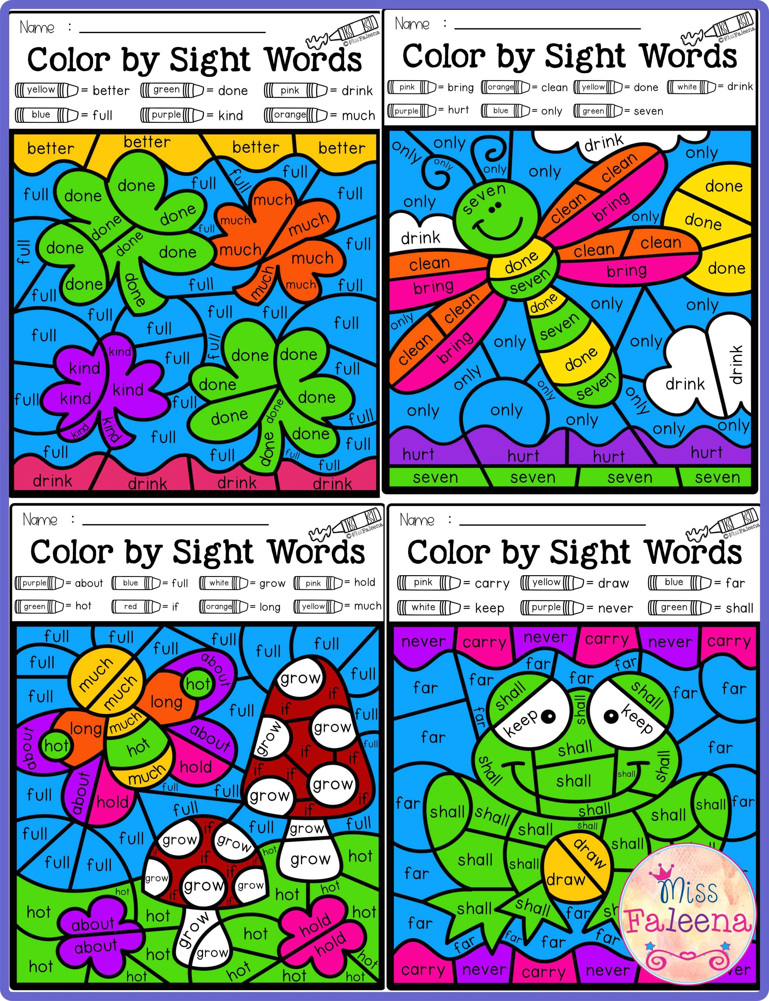 Spring Color By Code Sight Words Third Grade