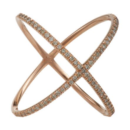 Eva Fehren Diamond & Rose Gold X Ring at Barneys.com