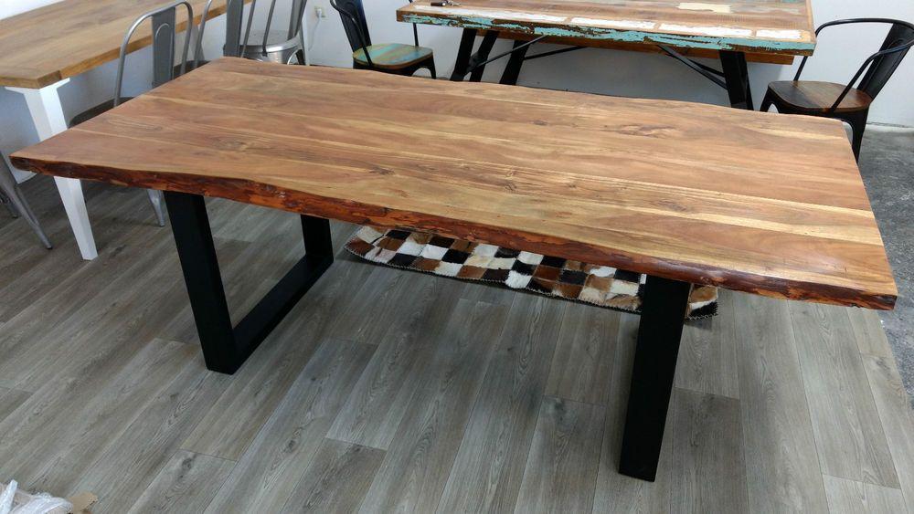 Esstisch Baumstamm Tisch Baumkante Akazie Massivholz Holztisch