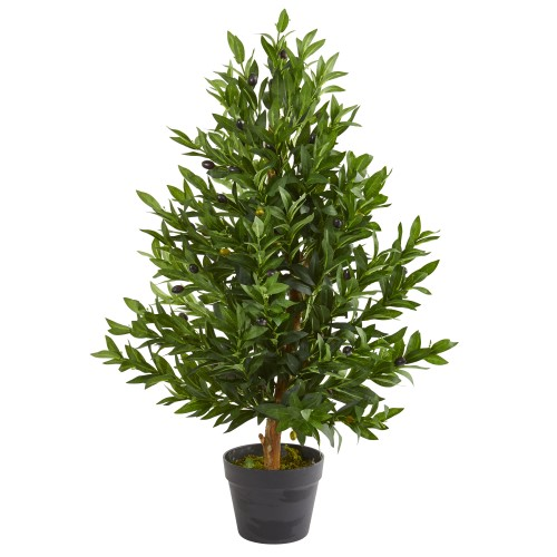 Nearly Natural 35 inch Olive Cone Topiary Artificial Tree UV
