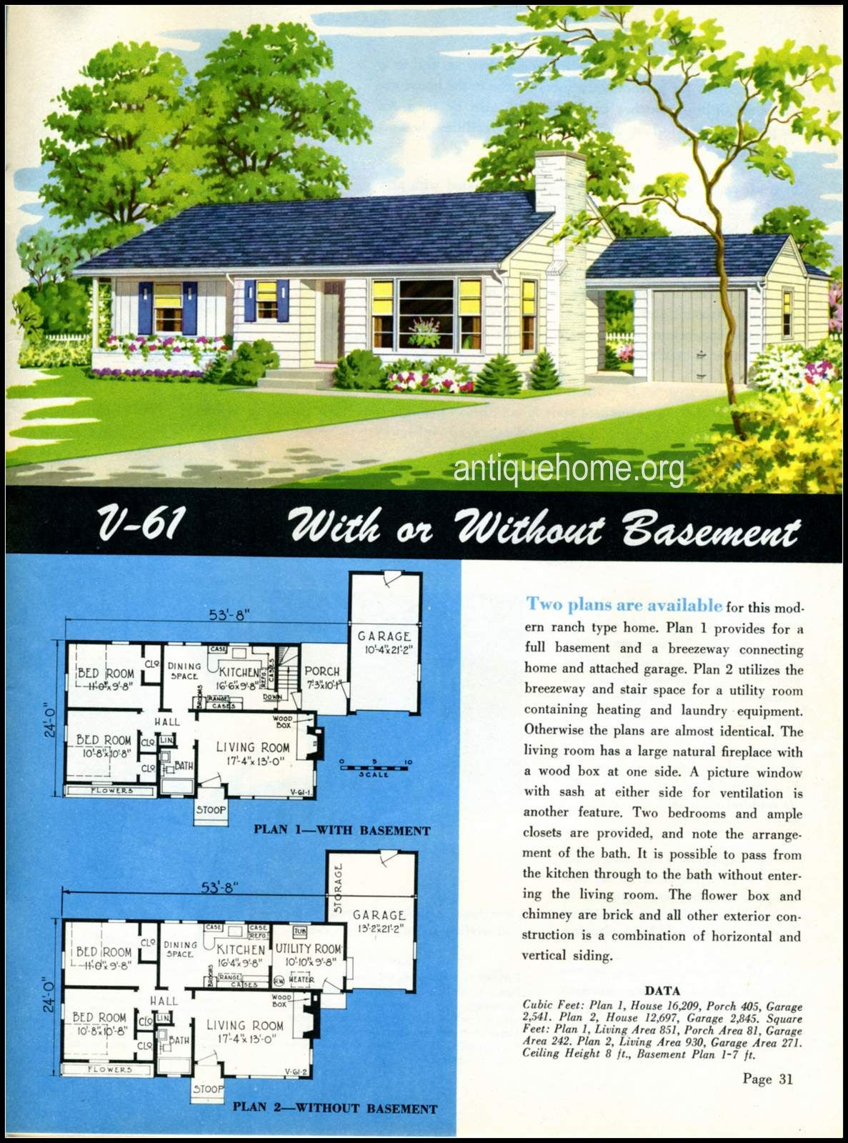 1949 Ranch Style Homes From National Plan Service And Antiquehome Org House Styles House Plans With Pictures House Plans