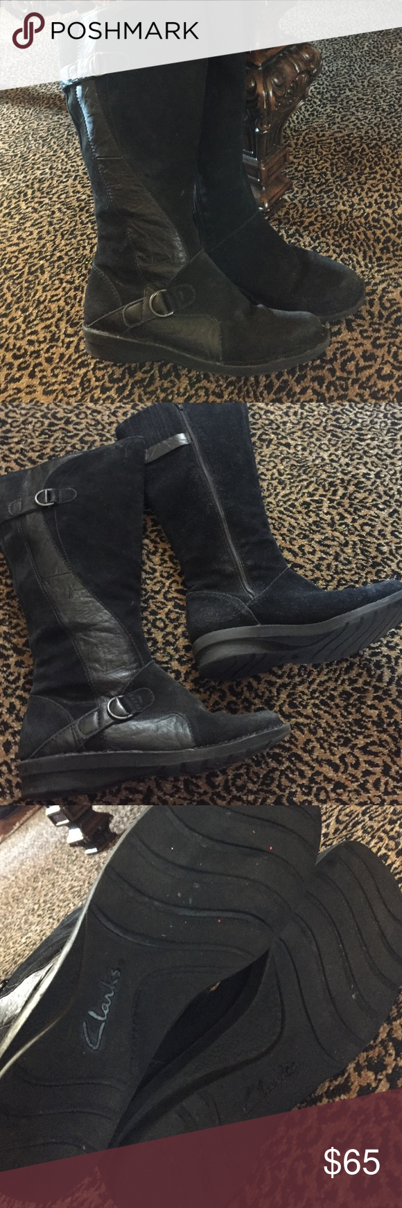 Clarks Tall Black leather boots Great comfort rubber soul.  genuine suede and leather. Great condition Clarks Shoes Winter & Rain Boots