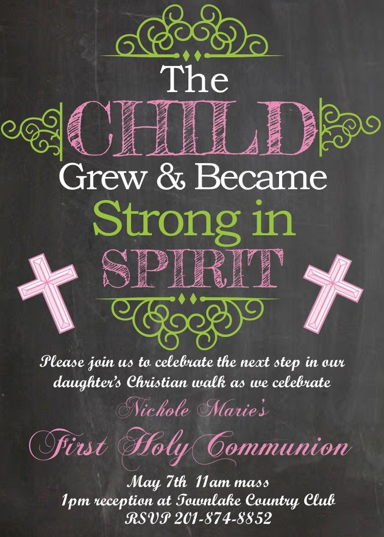 first birthday invitation for my son%0A First Communion Party Invitations Chalkboard  Pink Girl The Child Grew and  Became Strong in Spirit