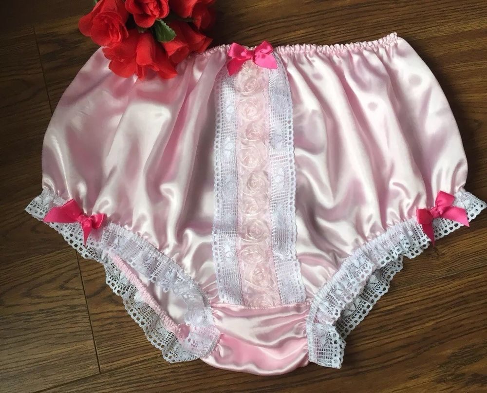 Baby Pink Full Panties Satin Sissy Knickers - Ribbons fb9d6b90a