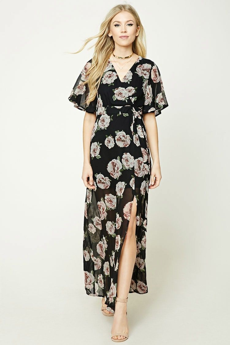 dd8e59c0fbd1 A woven maxi dress featuring a surplice front, self-tie straps at waist,  butterfly sleeves, a knit underlayer, side slit, and a concealed back  zipper.