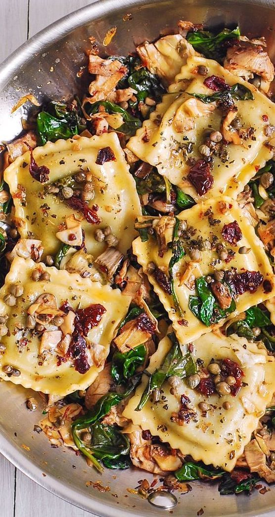 Italian Ravioli with Spinach, Artichokes, Capers,