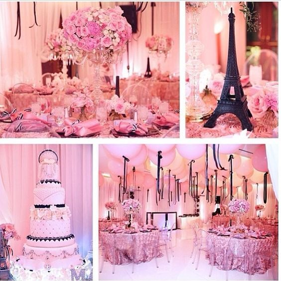 pink paris themed paris themed party pinterest pink paris sweet 16 and paris theme. Black Bedroom Furniture Sets. Home Design Ideas