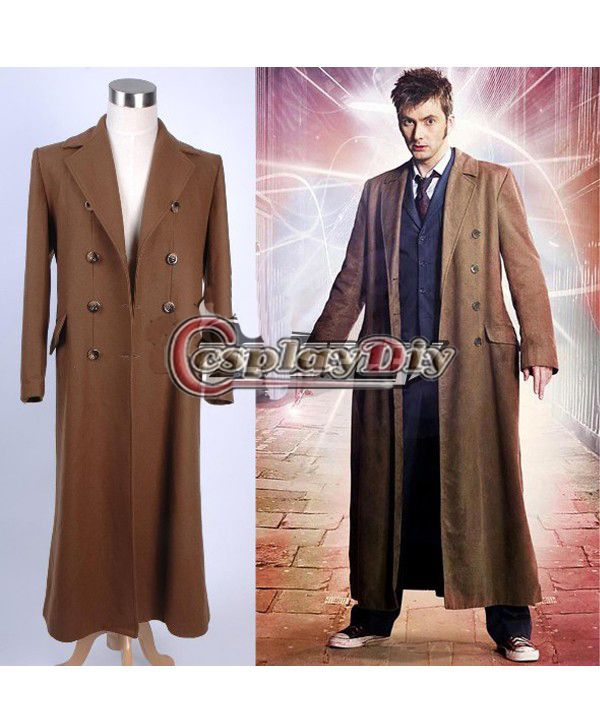 Brown Long Trench Coat Cosplay Costume Brown//Black 10th Who is Doctor Dr