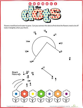 Worksheets Dot To Dot 1 20 Gardening Kindergarten Math Worksheets Free Dots Dot To Dot Printables