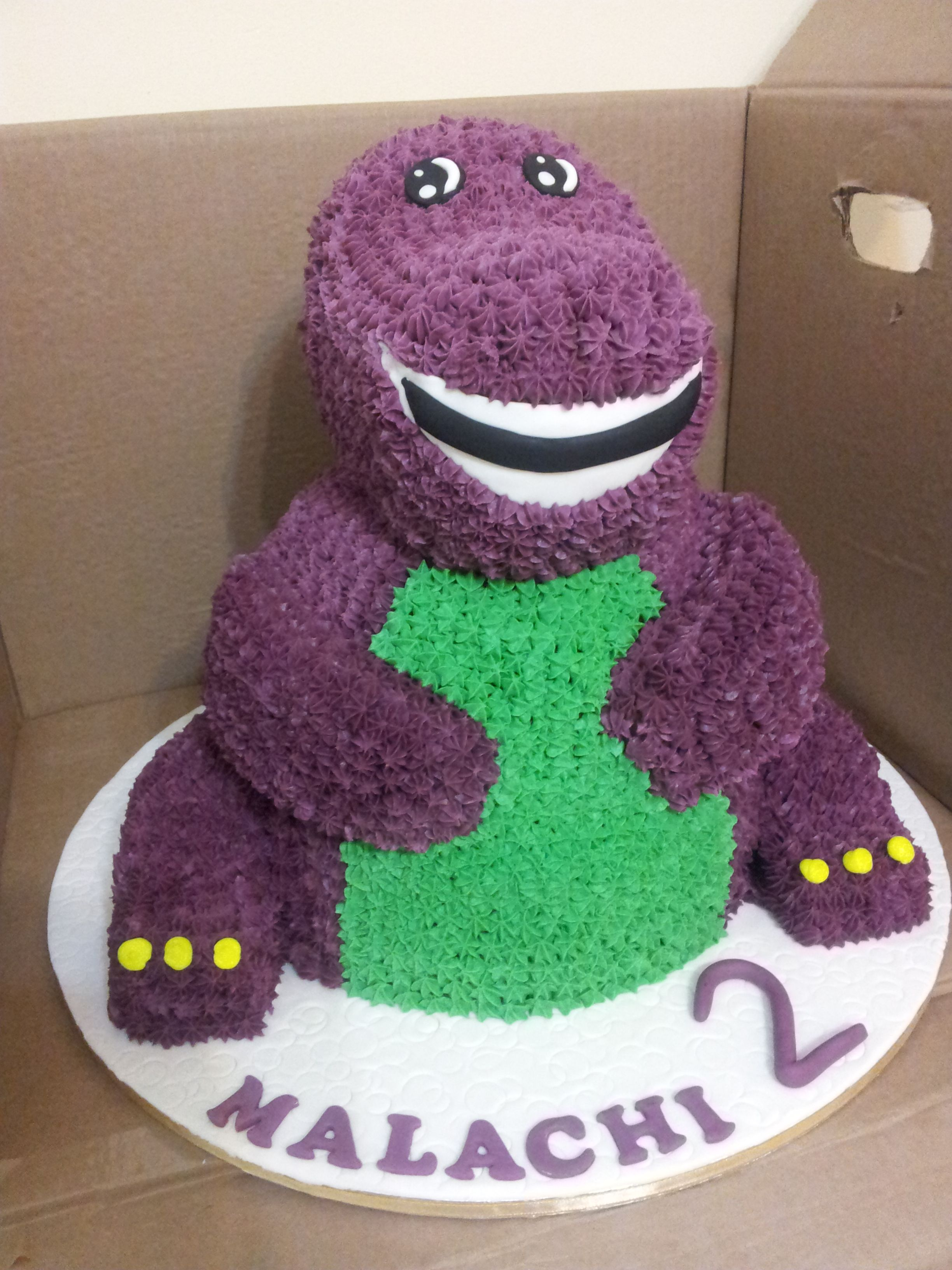 Pleasant Barney Cake For A Two Year Old Boy With Images Barney Personalised Birthday Cards Cominlily Jamesorg
