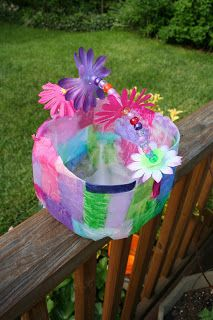 Kids craft recycled milk jug basket mothers day gift easter daycare crafts negle Images
