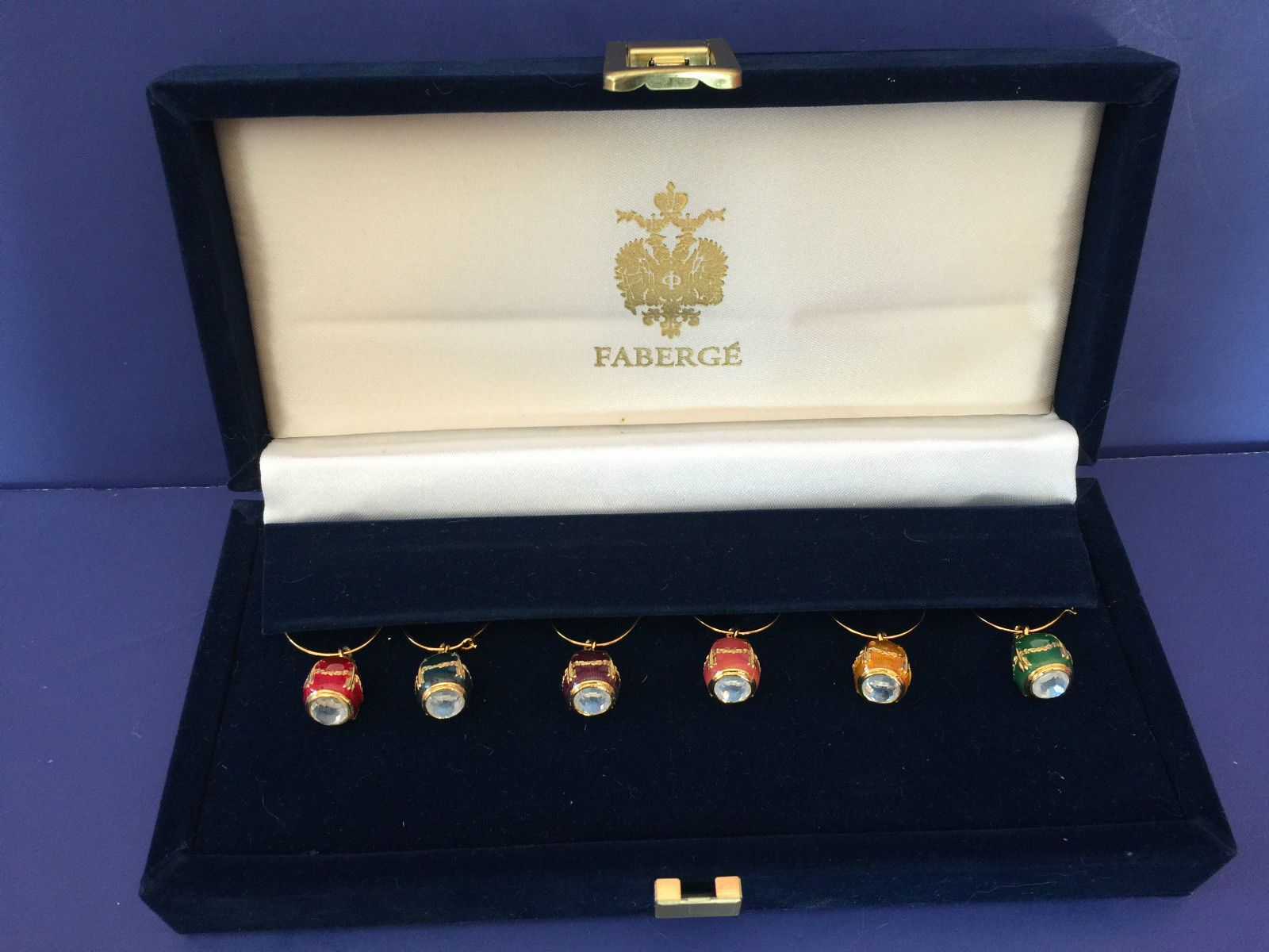 Faberge Egg Enameled Wine Glass Marker Charms In Faberge Presentation