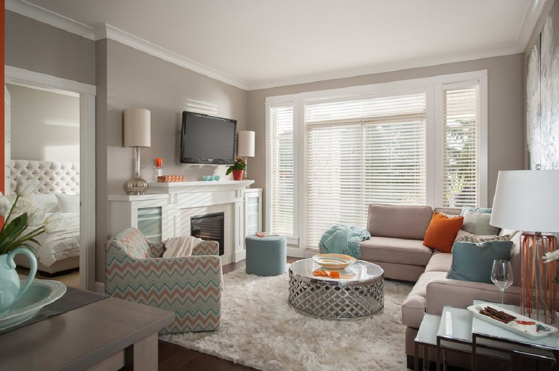 Sherwin williams perfect greige ideas pictures remodel - Anew Grey Sherwin Williams Small Living Room Wall Pint Color Features Metal Drum Shape Coffee Table