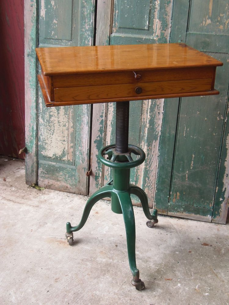 Antique Industrial Table Cast Iron Adjustable Base 3 Leg