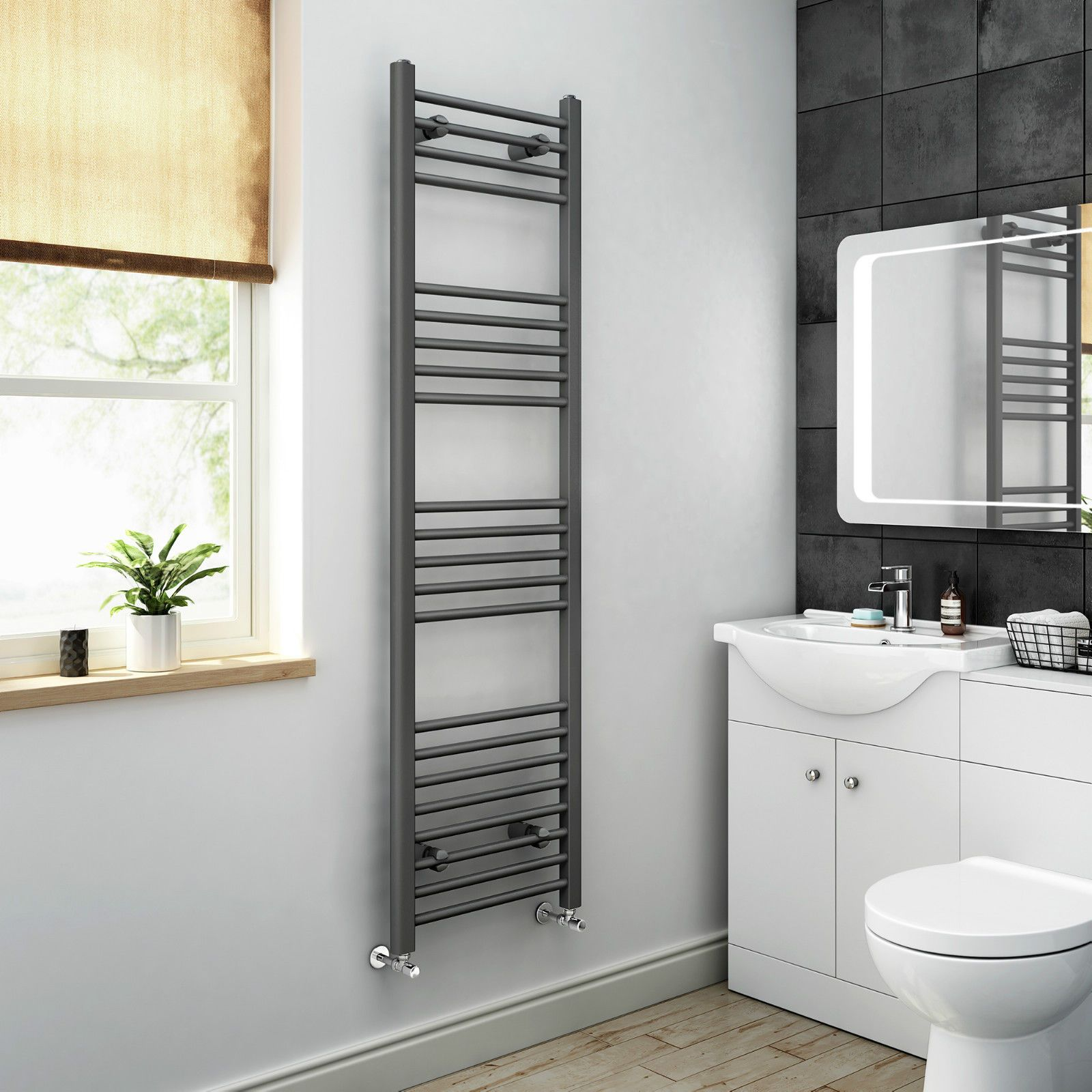 Towel Radiator Grey Anthracite Curved Heated Towel Rail Bathroom Radiators