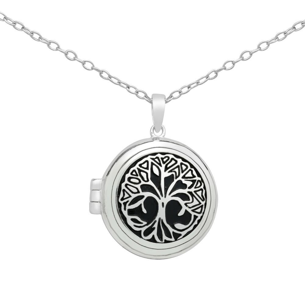 necklace of life sterling silver oval shaped locket tree lockets personalised
