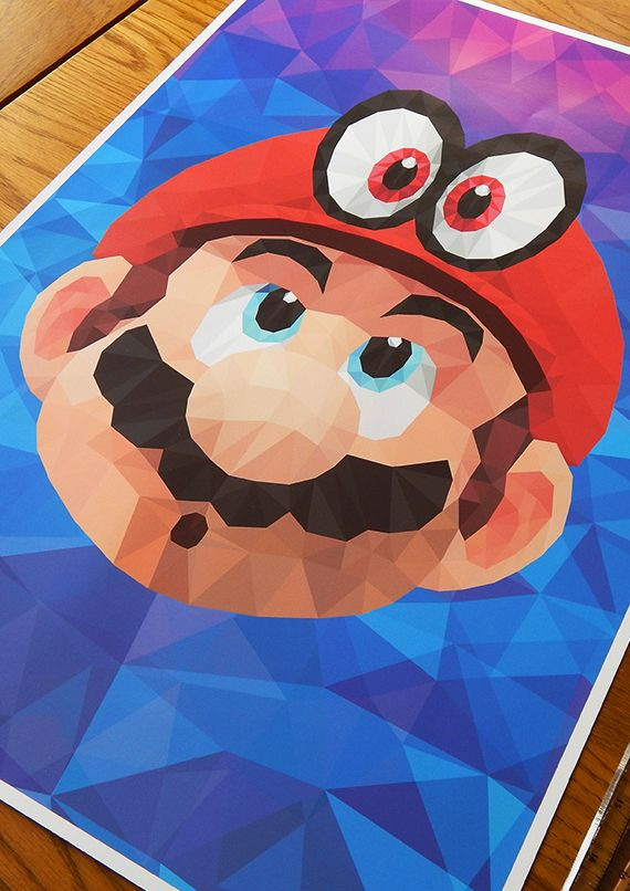 Super mario odyssey mario cappy poly video game wall for Super mario odyssey paintings