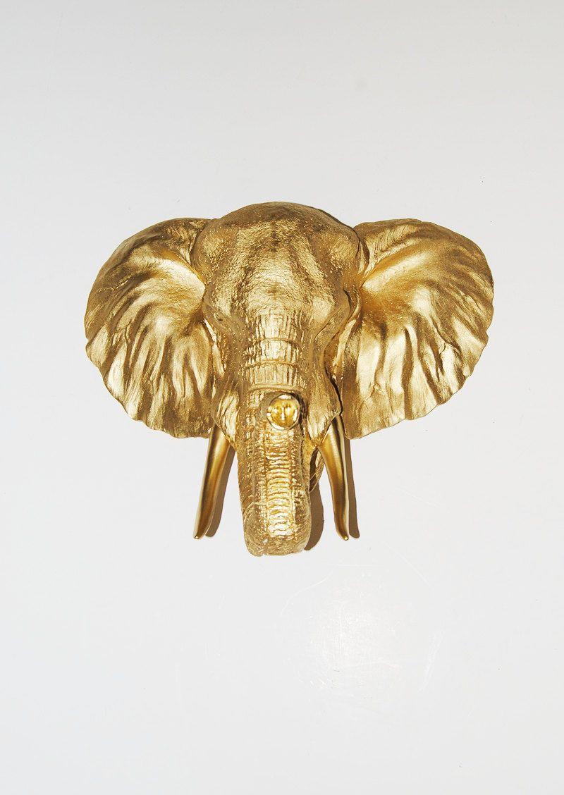 Faux Elephant Head Taxidermy - The Toker - Gold Resin Elephant ...