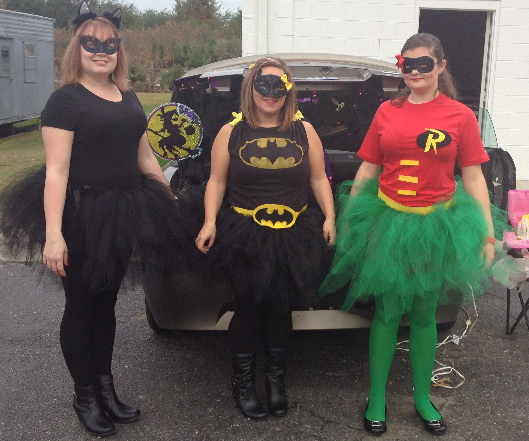 the batman, robin and cat women costumes my daughter and i made for