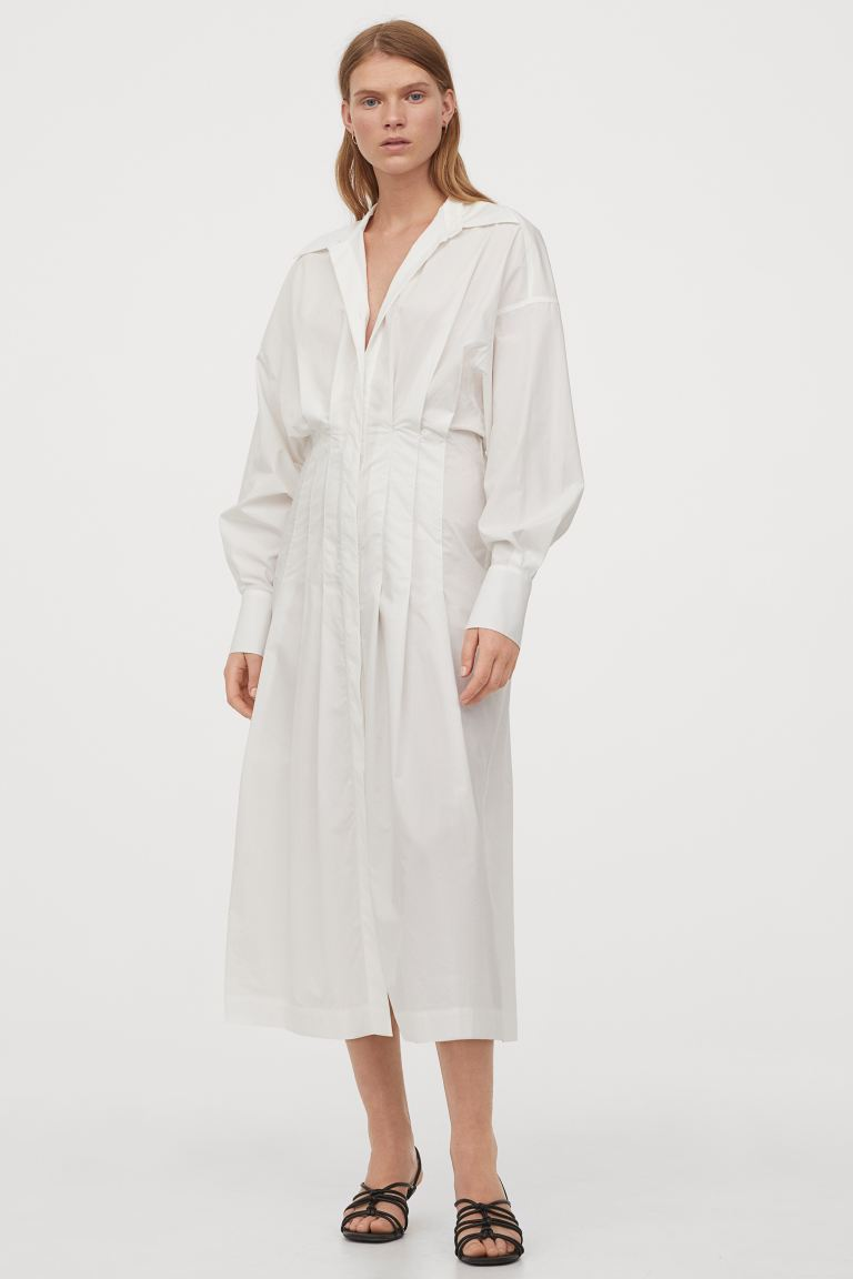 Blusenkleid aus Baumwolle   Weiß   Ladies   H&M DE   Poplin shirt ...