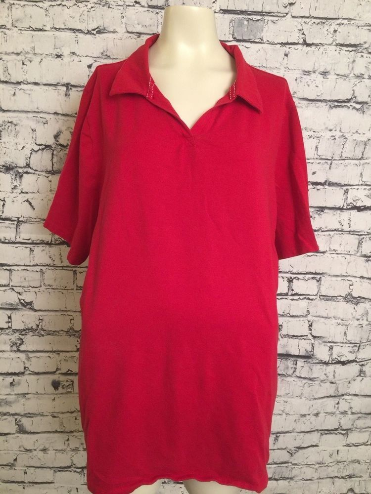 8da32ff6954 Suprema By Catherines Women Plus Size 2X 22W 24W Red Short Sleeve Top Shirt   Catherines  Top  Casual