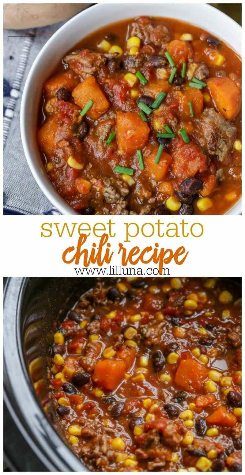 Sweet Potato Chili Recipe Sweet Savory Lil Luna Chilirecipe Hearty And Filling Sweet Potato Chili En 2020 Recette Piment Recette Lasagne Plat Sans Viande